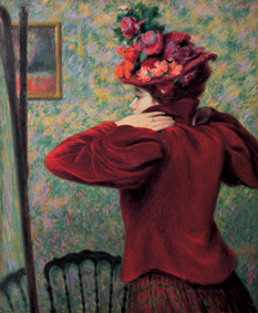 I Macchiaioli-Federico Zandomeneghi, Il giubbetto rosso, 1895 circa, antica collezione Camillo Giussani